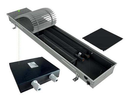 FDZ trench heater with installed power supply 24V&nbspDC, safe instalation with el. protection IP67, heating